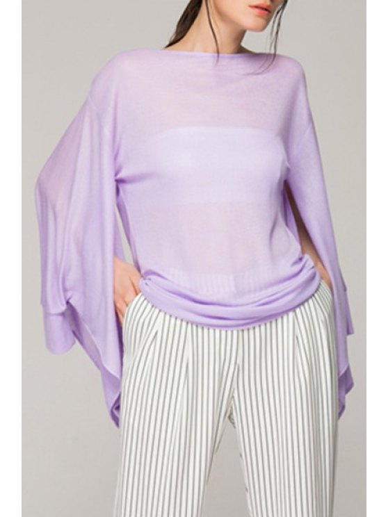 lady Solid Color See-Through Bell Sleeve T-Shirt - PURPLE XL