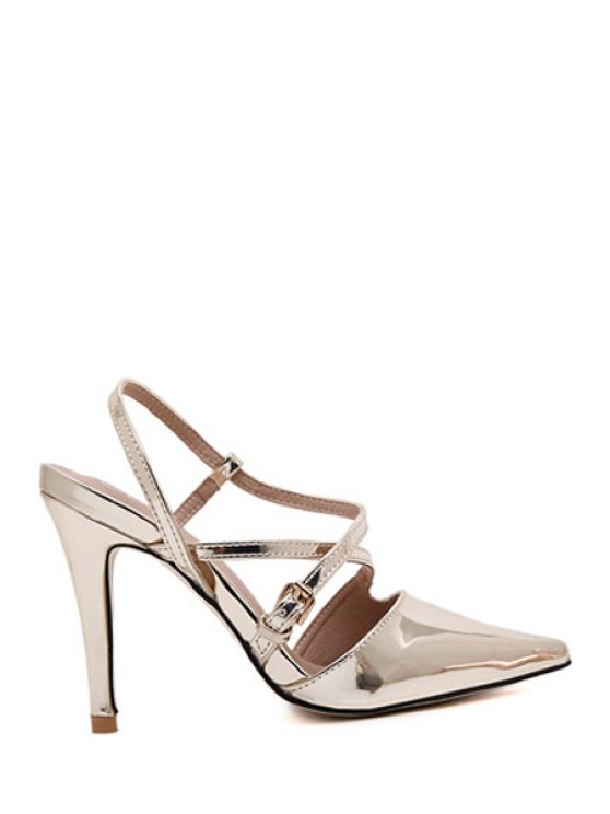 latest Solid Color Pointed Toe Buckle Sandals - LIGHT GOLD 35