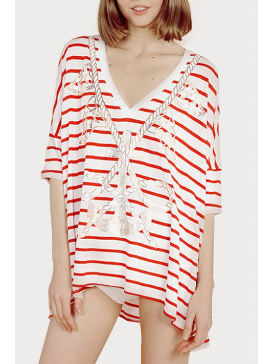 women's Stripe Anchor Print Half Sleeve T-Shirt - RED S