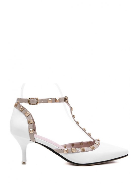 fashion Rivets T-Strap Pointed Toe Color Block Pumps - WHITE 34