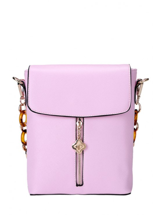 new Metallic Pendant Candy Color Shoulder Bag - PINK