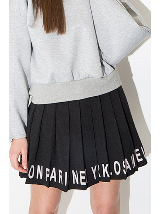 fashion White Letter Print Pleated Skirt - BLACK S