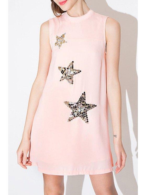 women Round Neck Sequins Star Pattern Sleeveless Dress - PINK S