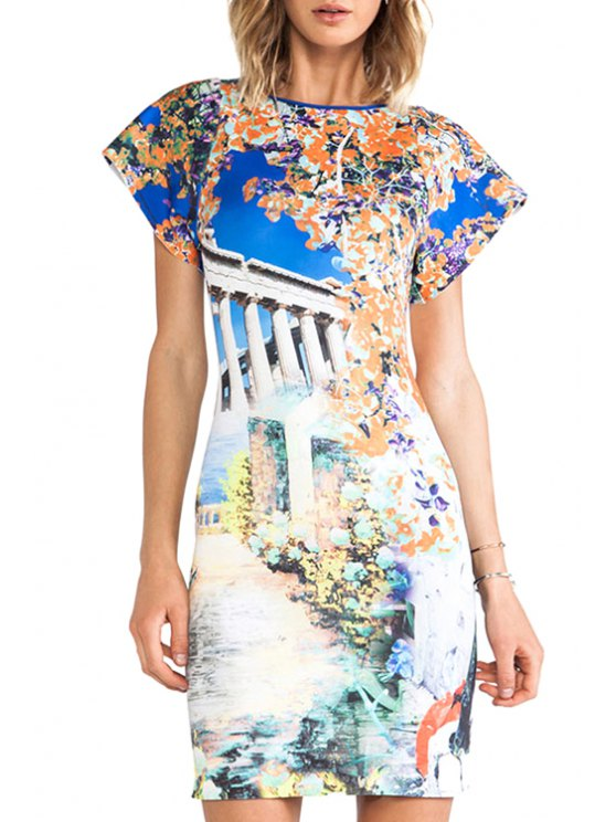 outfits Scenery Print Short Sleeve Bodycon Dress - AS THE PICTURE M