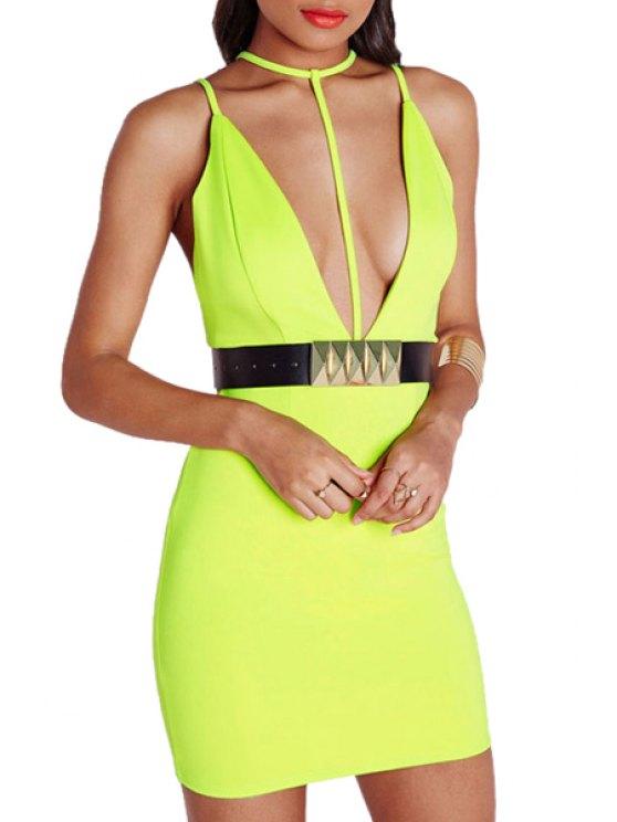 womens Yellow Spaghetti Strap Bodycon Dress - YELLOW M