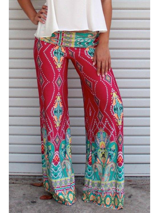 womens Wide Leg Abstract Print Exumas Pants - RED S