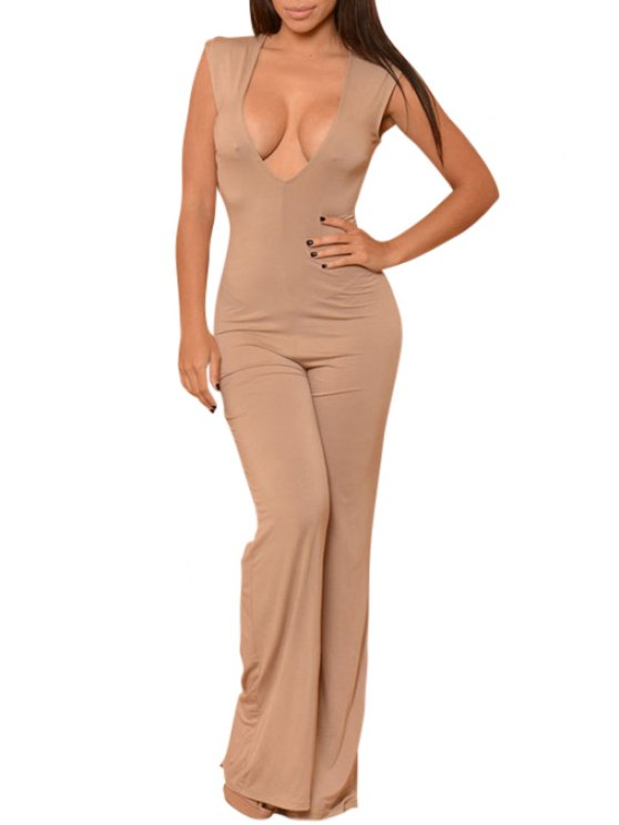 shops Solid Color Plunging Collar Sleeveless Jumpsuit - APRICOT ONE SIZE(FIT SIZE XS TO M)