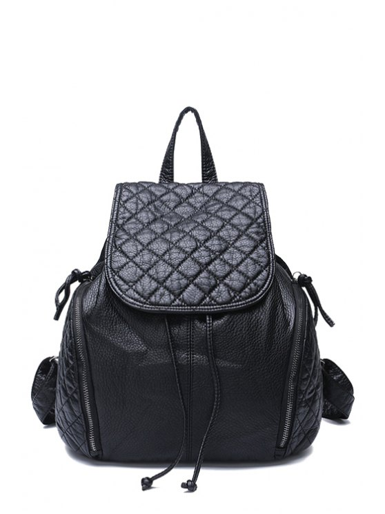 women's Black Checked PU Leather Zipper Satchel - BLACK