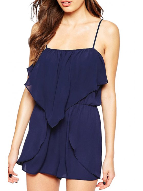 trendy Solid Color Spaghetti Strap Chiffon Playsuit - BLUE ONE SIZE(FIT SIZE XS TO M)