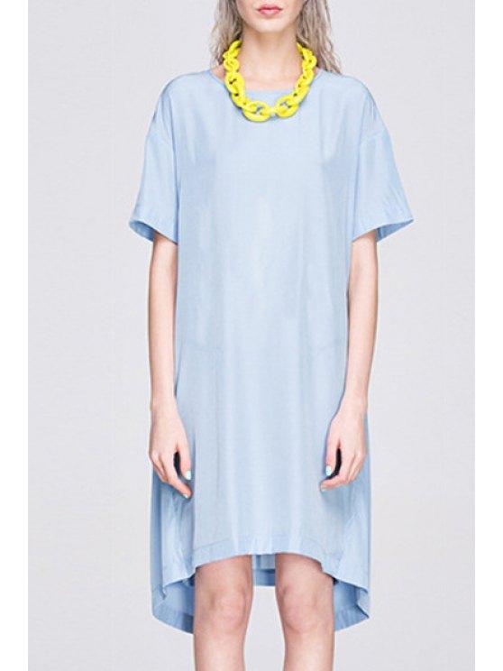 fashion Back Cross Slit Short Sleeve Dress - BLUE M