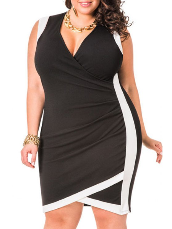 women's Color Block V Neck Sleeveless Plus Size Dress - BLACK 2XL
