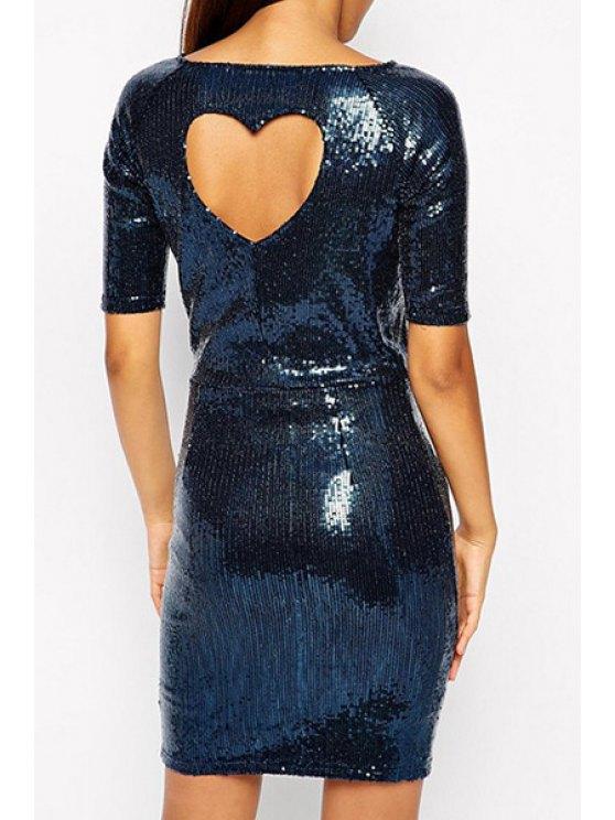 women's Backless Sequins Short Sleeve Dress - BLUE S