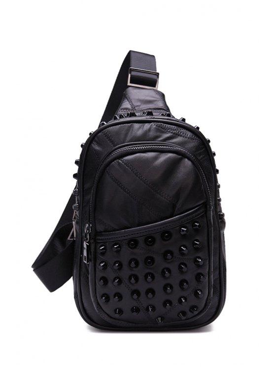 ladies Rivets Stitching PU Leather Crossbody Bag - BLACK