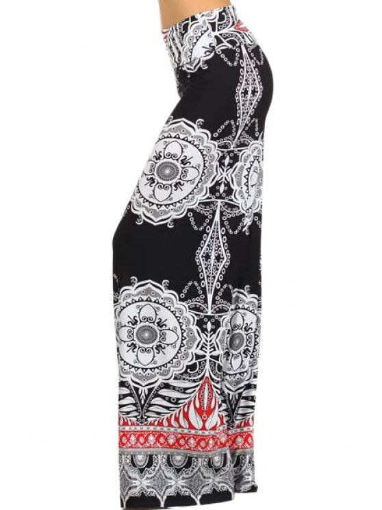 outfits Wide Leg Tribal Pattern Exumas Pants - WHITE AND BLACK S
