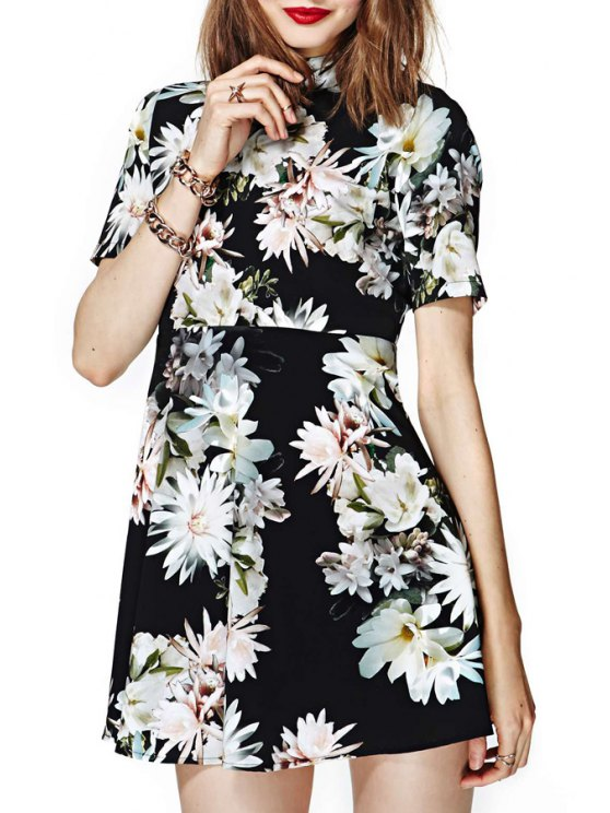 chic Stand-Up Collar White Floral Print Backless Dress - BLACK S