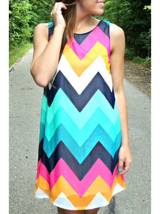 hot Wavy Stripes Colorful Mini Dress - AZURE S