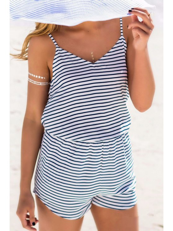 online Spaghetti Strap Lace Spliced Stripes Playsuit - BLUE AND WHITE S