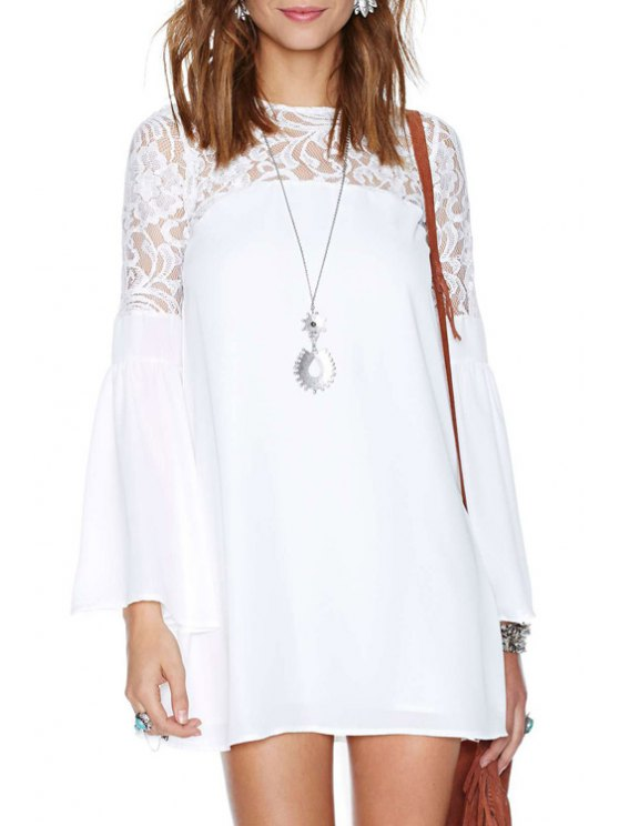 womens See-Through Backless Lace Long Sleeve Dress - WHITE S