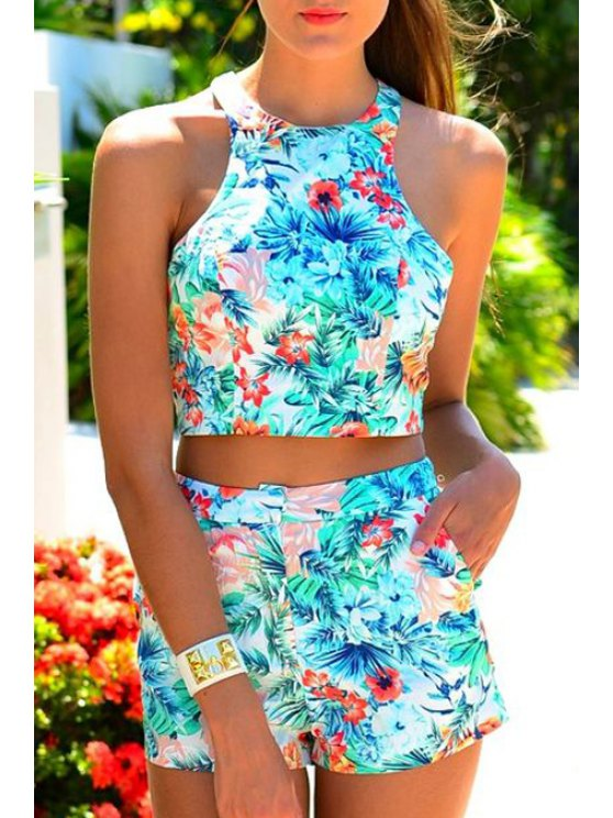 new Halter Crop Top + Floral Print Shorts Twinset - AZURE S