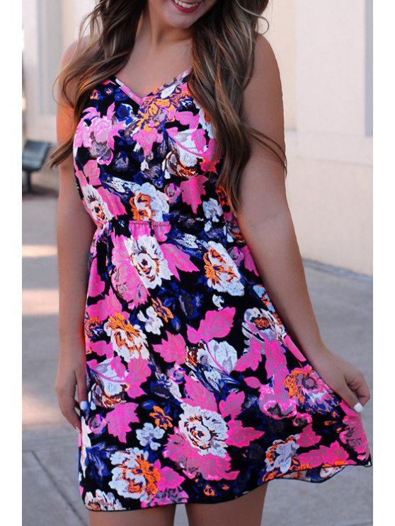 online Floral Print Open Back A-Line Dress - ROSE S