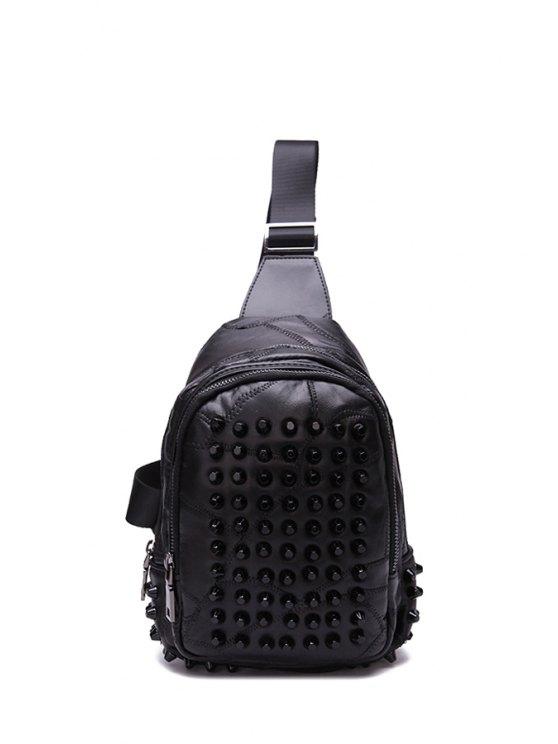 ladies Rivets Black Solid Color Messenger Bag - BLACK