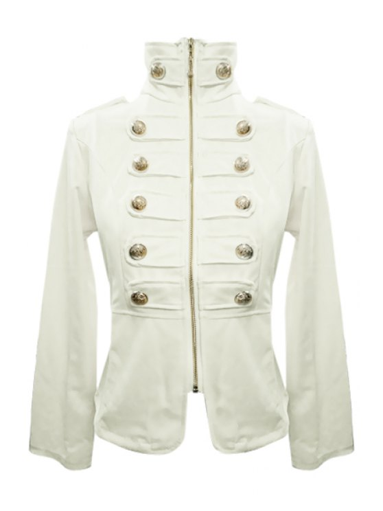 fancy Stand-Up Collar Solid Color Zipper Fly Coat - WHITE S
