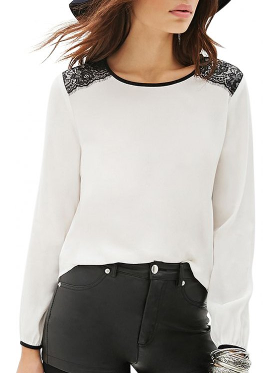 women's Jewel Neck Black Lace Splicing T-Shirt - WHITE S
