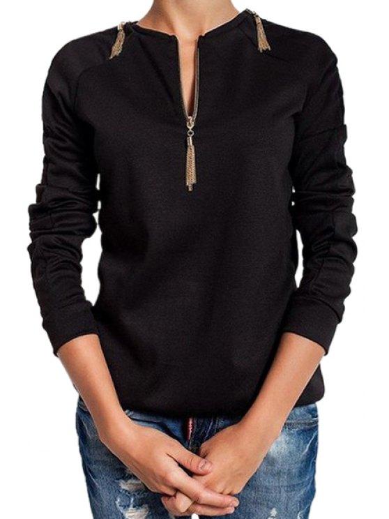 new Zipper Embellished Long Sleeve T-Shirt - BLACK S