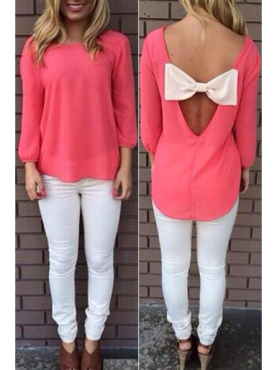 shops Back Bowknot Splicing Long Sleeve T-Shirt - PINK S