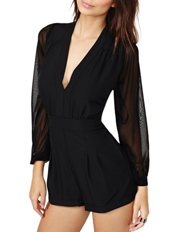 women See-Through Voile Splicing Long Sleeve Romper - BLACK XS