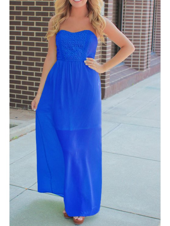 shop Argyle Pattern Solid Color Maxi Dress - BLUE S