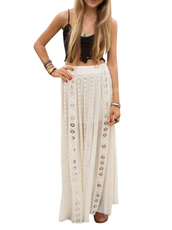fancy Black Spaghetti Strap Crop Top + White Hollow Out Skirt Twinset - WHITE AND BLACK S