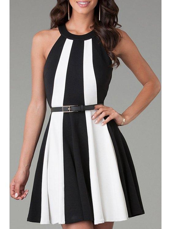 new White Black Sleeveless Color Block Flare Dress - WHITE AND BLACK S