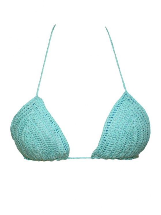 outfit Crochet Solid Color Halter Crop Top - AZURE S