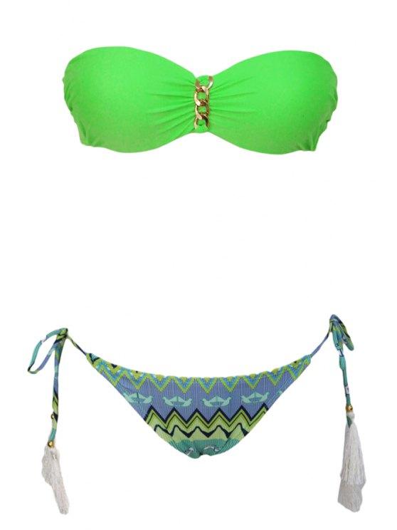 trendy Green Print Strapless Bikini Set - GREEN S