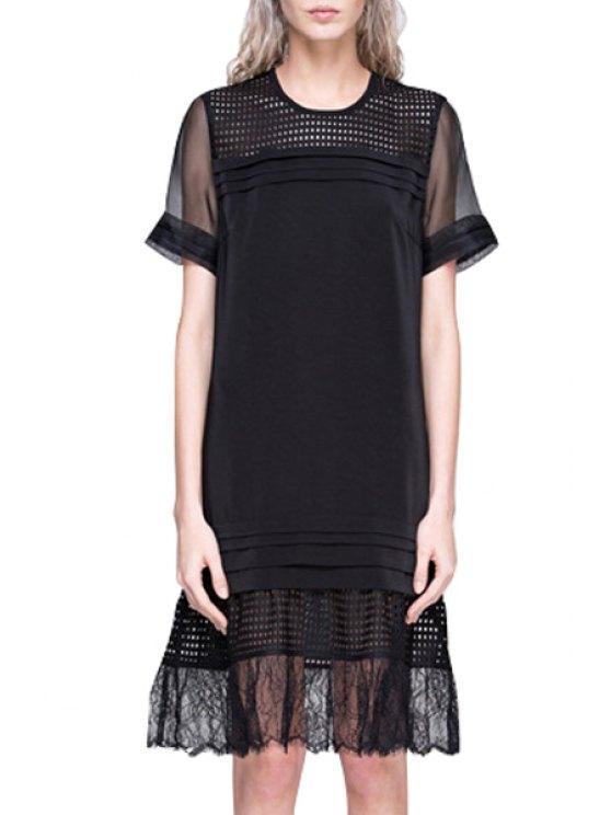 hot See-Through Volie Splicing Short Sleeve Dress - BLACK S