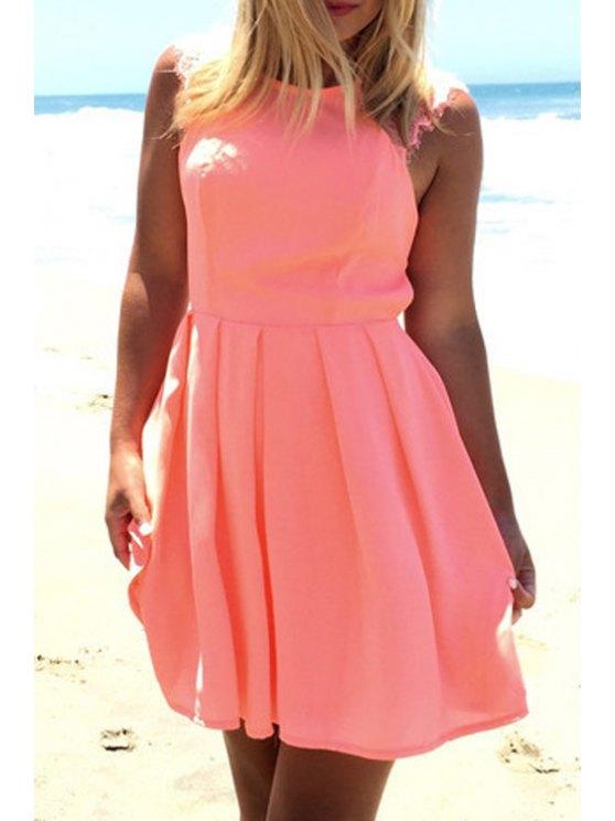 online Crochet Flower Cut Out Ruffled Pink Dress - PINK S