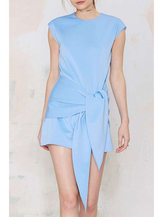 outfit Light Blue Round Neck Self-Tie Dress - LIGHT BLUE S