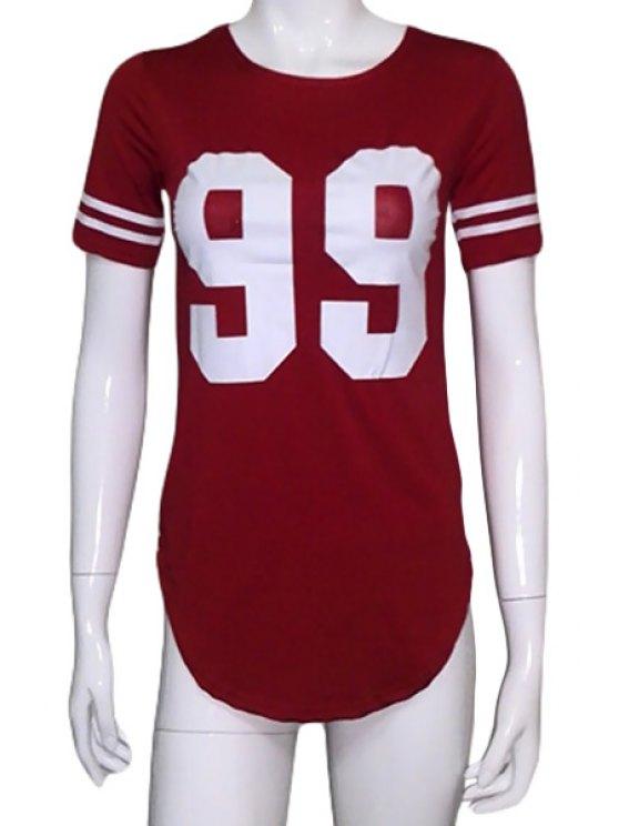 shop Number 99 Print Irregular Hem T-Shirt - RED S