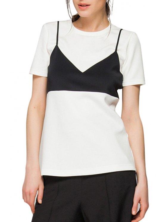 lady Black Bra Pattern Short Sleeve T-Shirt - WHITE S