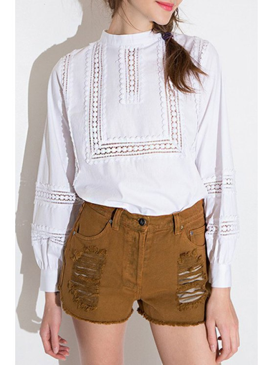 lady Lace Spliced Stand Neck Blouse - WHITE S