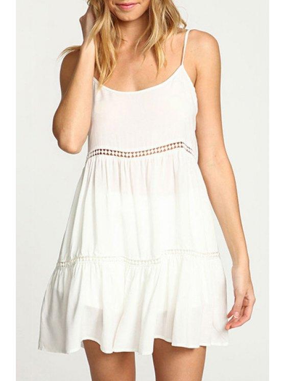 unique White A Line Spaghetti Strap Dress - WHITE S
