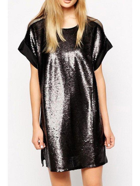 women Back See-Through Mesh Splicing Dress - BLACK S