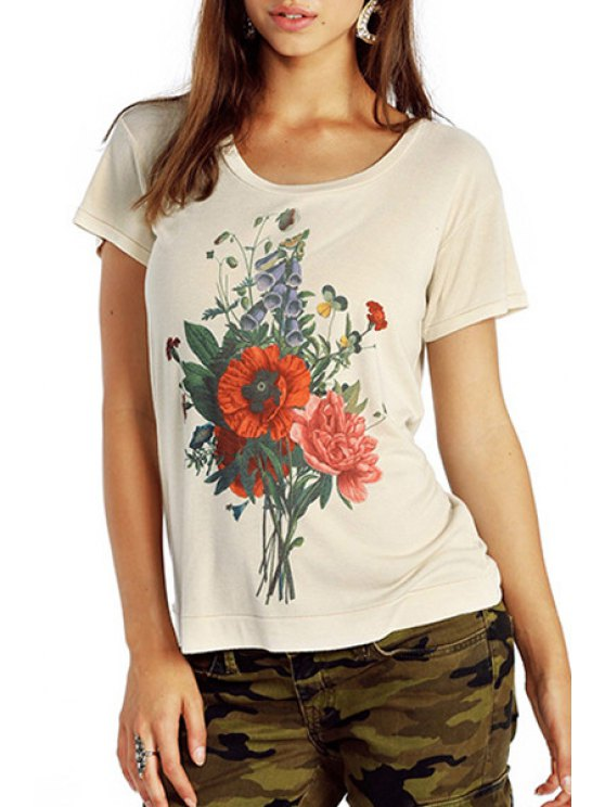fancy Flower Print Short Sleeve T-Shirt - WHITE S