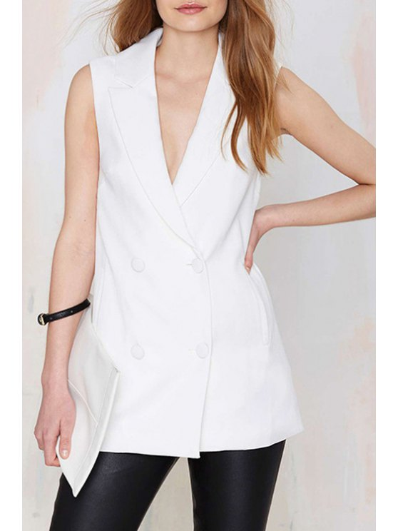 hot Lapel Double-Breasted Sleeveless Waistcoat - WHITE S