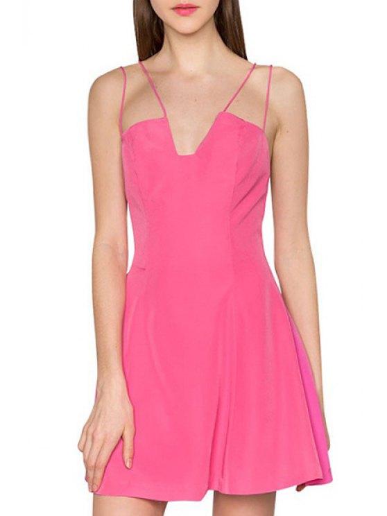 sale Solid Color Spaghetti Strap A Line Mini Dress - ROSE S
