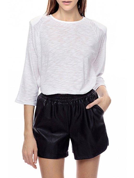 affordable Solid Color Shoulder Pad 3/4 Sleeve T-Shirt - WHITE S