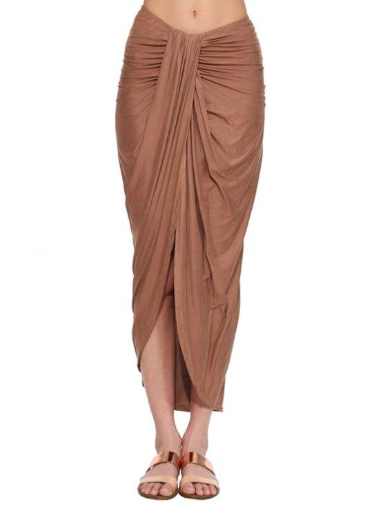 trendy Draped High Slit Long Skirt - BROWN S