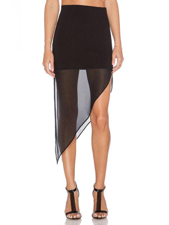 trendy Voile Splicing See-Through Slit Skirt - BLACK S