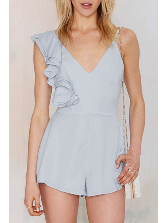 trendy Blue Backless Spaghetti Strap Playsuit - BLUE S